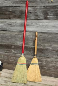 vintage corn brooms, whisk broom & child's size sweeping broom, rustic farmhouse decor