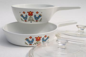 vintage corning ware, Country Festival blue bird friendship distlefink PA Dutch