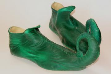 vintage costume elf leprechaun gnome fairy tale dwarf shoes, green rubber slippers
