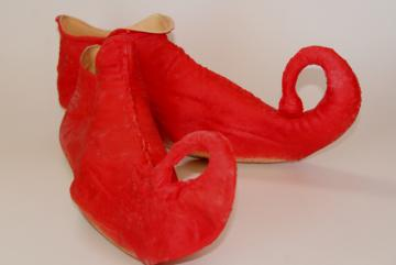 vintage costume elf leprechaun gnome fairy tale dwarf shoes, red rubber slippers