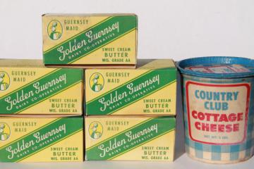 vintage cottage cheese container & Golden Guernsey dairy butter boxes, retro food packaging