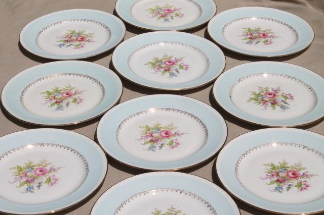 vintage cottage chic shabby floral china dinner plates aqua blue w flowers - China Dinner Plates