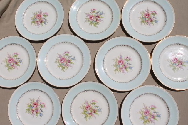 Vintage Cottage Chic Shabby Floral China Dinner Plates