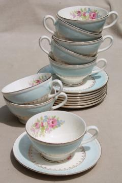 vintage cottage chic shabby floral china tea cups & saucers, aqua blue w/ flowers