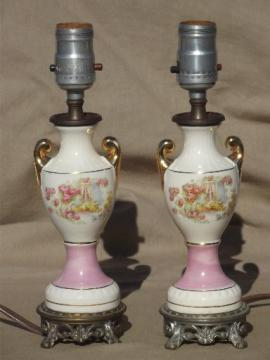 vintage cottage china boudoir lamps, shabby romantic chic vanity lamps pair