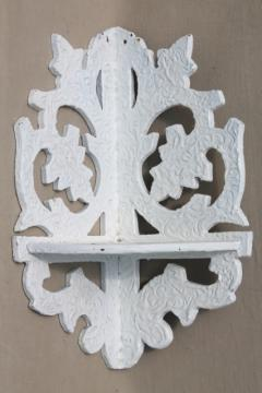 vintage cottage corner shelf, wood fretwork shelves w/ old white paint, alpine chalet style