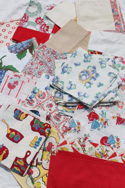 Vintage Kitchen Curtains | Vintage Cottage Farmhouse Kitchen Linens Lot Print Feed Sack Fabric