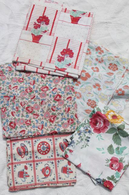 vintage cottage farmhouse kitchen linens lot, print feed sack fabric kitchen curtains, dish towels etc.