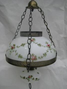 vintage cottage hanging light swag lamp, shabby roses chic painted glass shade