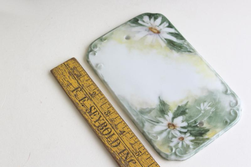 vintage cottage house number wall plaque, porcelain china name plate w/ hand painted daisies