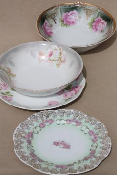 vintage cottage roses china plates & bowls, tea party serving pieces hand-painted porcelain