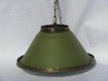 vintage cottage style hanging swag lamp, painted tole metal shade pendant light