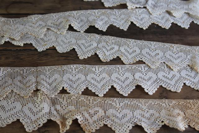 vintage cottage style shelf edging, handmade cotton lace filet crochet hearts