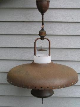 vintage cottage, tole hanging lamp with metal shade
