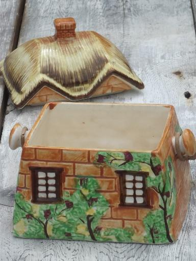 vintage cottage ware ceramic cookie jar, Occupied Japan cottageware