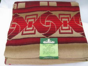 vintage cotton Indian camp blanket, red & tan plaid, original label