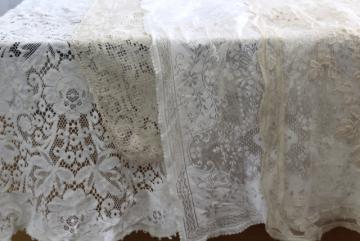 vintage cotton Quaker lace type table runners, white, ivory, ecru lace