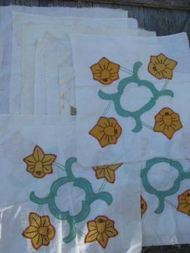 vintage cotton album quilt top blocks, embroidered applique daffodils