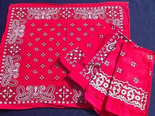 vintage cotton bandana lot USA fast color red and blue hankerchief scarves
