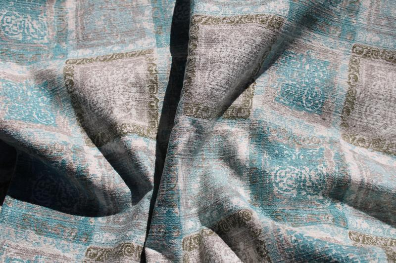 vintage cotton barkcloth fabric, Waverly Martinique print aqua grey gold