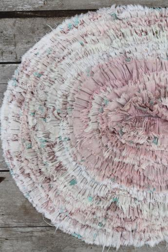 vintage cotton barkcloth fabric ruffle rug, shaggy throw rug for bedroom or bath