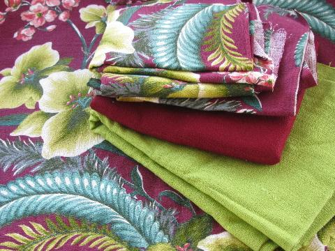 Vintage Cotton Barkcloth Fabric Tropical Floral Print And Solid