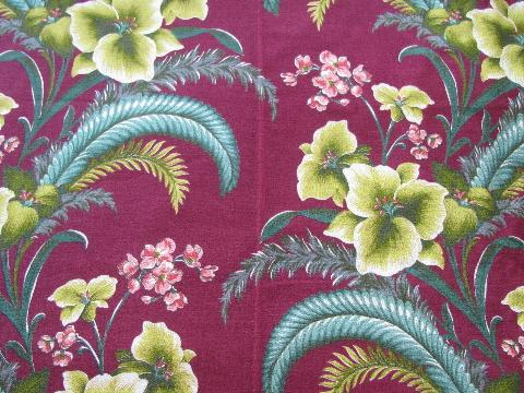 Vintage Cotton Barkcloth Fabric Tropical Floral Print And