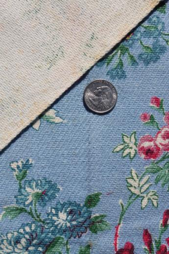 vintage cotton barkcloth w/ shabby chic roses, rose bouquet floral fabric