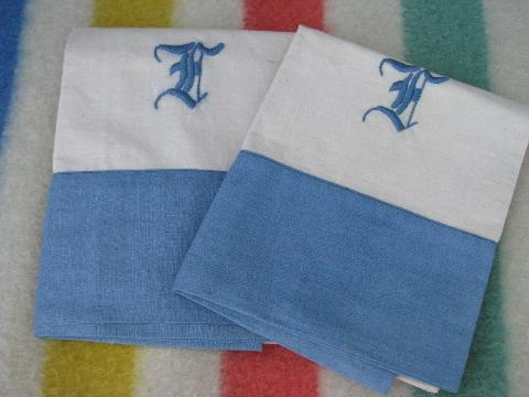 vintage cotton bed linens, lot embroidered monogram pillowcases w/blue