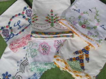 vintage cotton bed linens, lot embroidered pillowcases w/crocheted lace