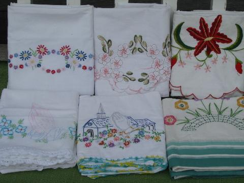 Vintage Cotton Bed Linens Lot Embroidered Pillowcases W