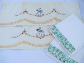 vintage cotton bed linens, lot of embroidered pillowcases w/ crocheted lace