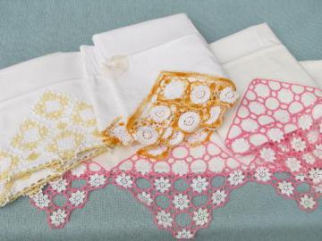 vintage cotton bed linens, pillowcases w/colored crochet thread lace