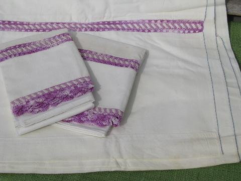 vintage cotton bed linens, pillowcases & sheets w/colored crochet lace