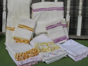 vintage cotton bed linens, pillowcases & sheets w/colored crochet lace