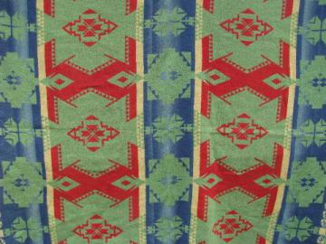 vintage cotton camp blanket, Indian jacquard, green, blue, red