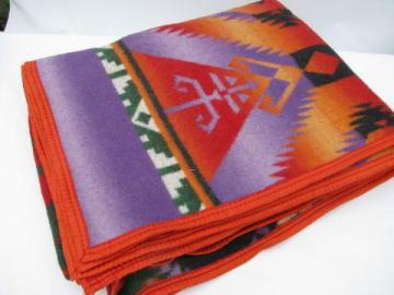 vintage cotton camp blanket, Indian jacquard, purple w/ colors
