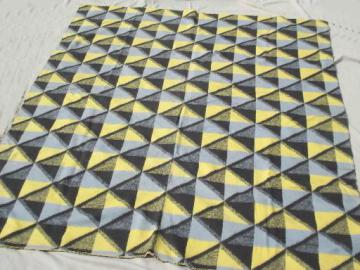 vintage cotton camp blanket throw in retro yellow, grey, black