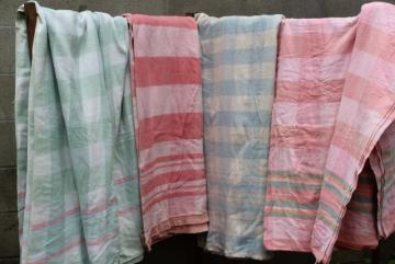 vintage cotton camp blankets and fold over flannel sheet blankets, retro candy stripe colors