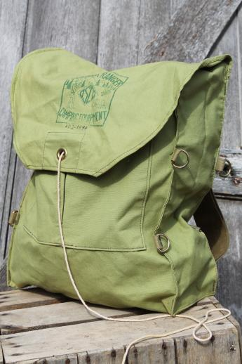 Vintage Cotton Canvas Backpack Outdoor Ranger Camping Equipment Campers Day Pack