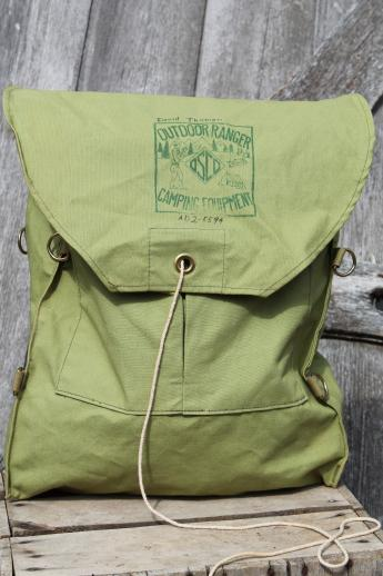 Vintage Cotton Canvas Backpack Outdoor Ranger Camping