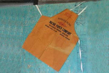 vintage cotton canvas bib apron, carpenter style work tool apron w/ printers advertising