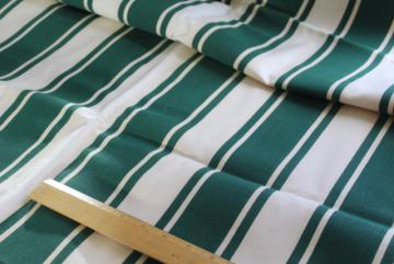 vintage cotton canvas, cream & green awning stripe fabric for camper, camp seats