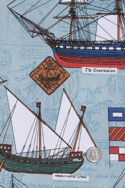 vintage cotton canvas fabric w/ nautical seafaring tall ships sailing print
