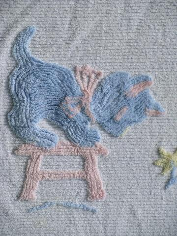 vintage cotton chenille baby bedspread or crib blanket, tiny kitten