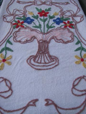 vintage cotton chenille bedspread, bright flower basket bed cover