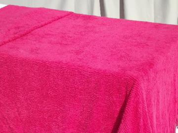 vintage cotton chenille bedspread, red raspberry  pink w/ heavy chenille fringe