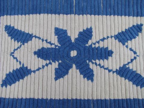 Vintage Cotton Chenille Throw Rug Or Bath Mat Blue