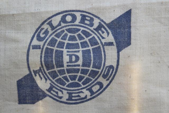 vintage cotton chicken feed sack w/ printed ad graphics Globe baby chick starter