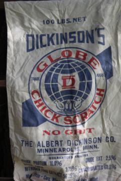 vintage cotton chicken feed sack w/ printed ad graphics Globe chick scratch No Grit